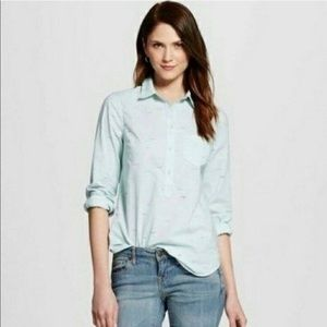 Merona Blue Swimmer Popover Button Down Shirt - L